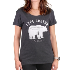 T-shirt Ours Breton gris anthracite Femme