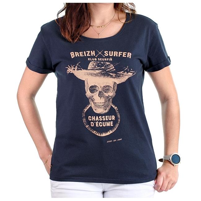 T-shirt Breizh Surfer bleu marine Femme